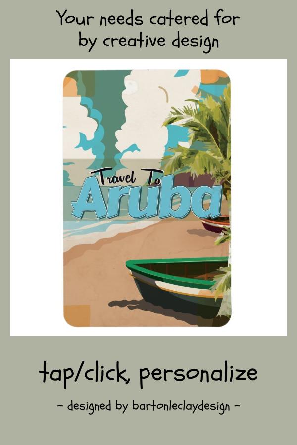 Aruba Vintage Travel Poster Magnet