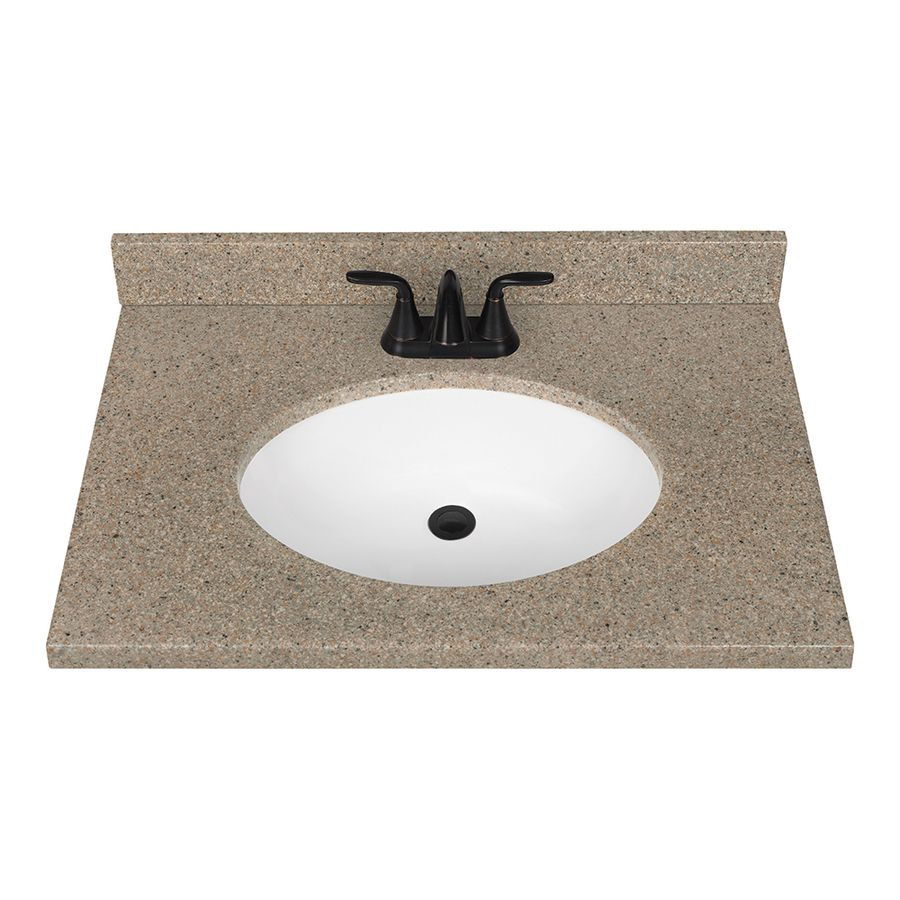 Photo Of Nutmeg Solid Surface Integral Single Sink Bathroom Vanity Top Common in x