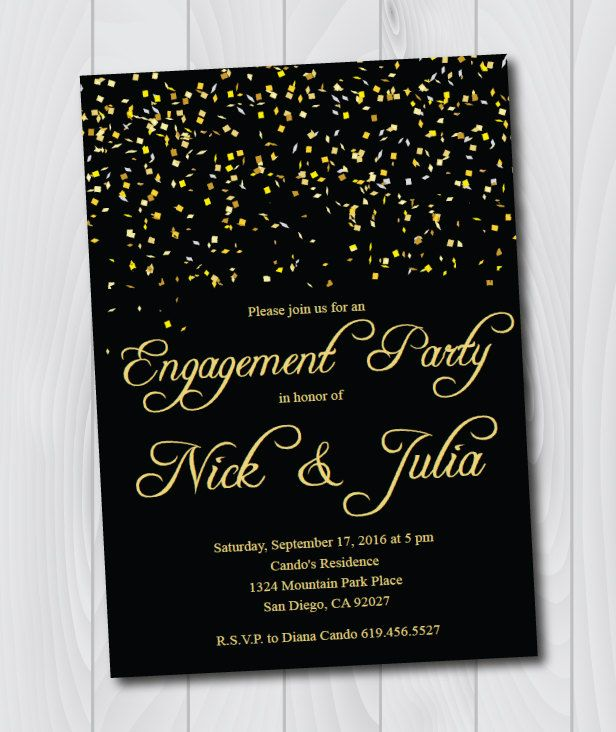 Printable Black Gold Engagement Invitation E Card Party