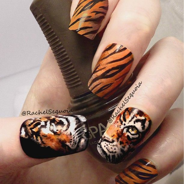 Tiger. Tiger Nail ArtTiger ... - Pin By India-Jewel Jackson On Crazy Cool Nails Pinterest Tigers