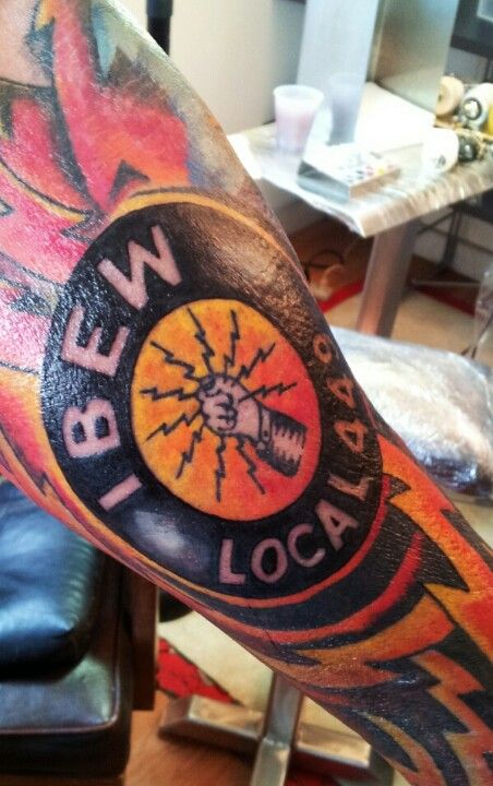 Ibew logo electrical sleeve tattoo latest work for Electrical tattoos ideas