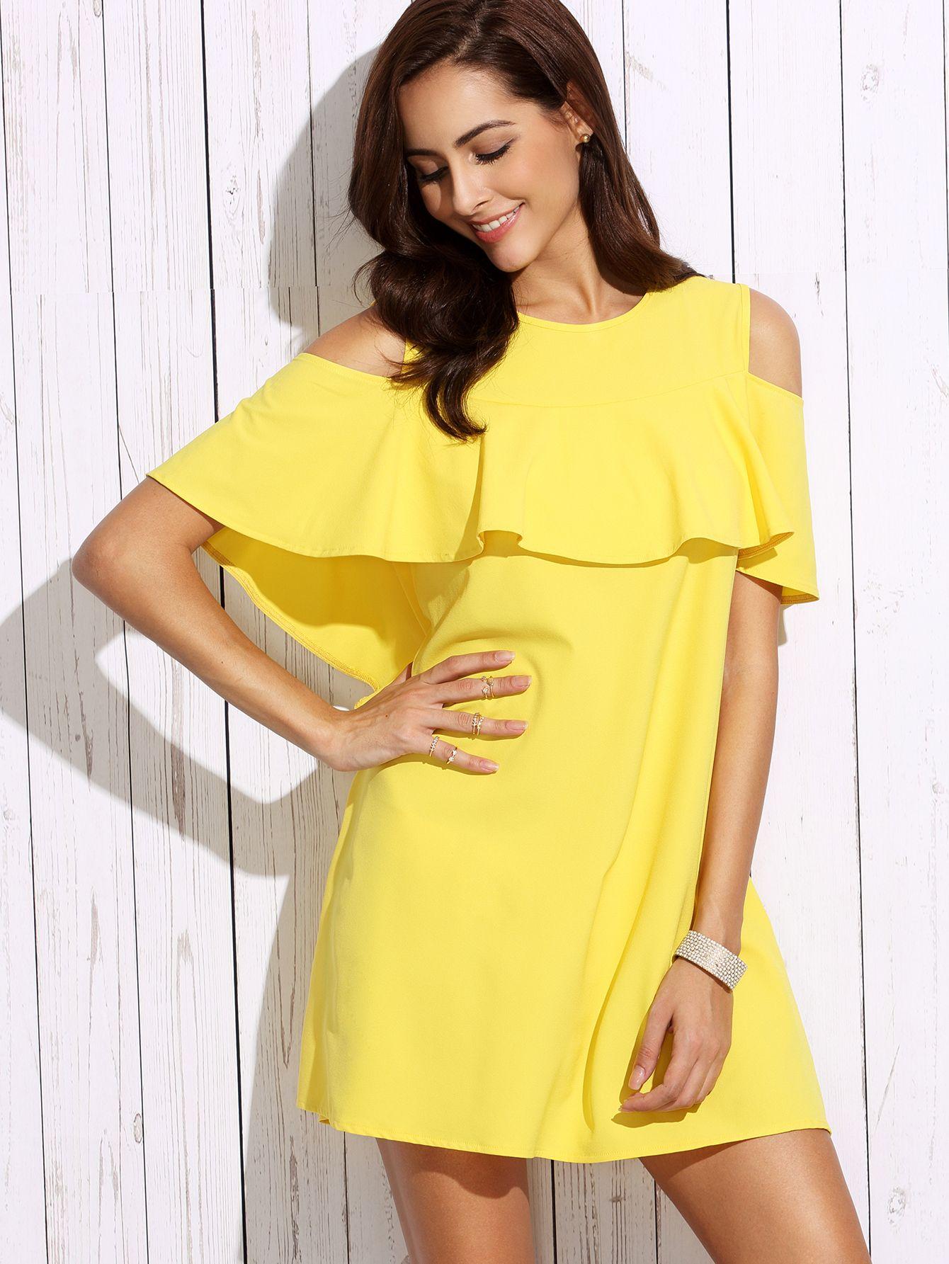 Shop Yellow Cold Shoulder Ruffle Shift Dress Online Shein Offers Yellow Cold Shoulder Ruffle Shift Dress Short Yellow Dress Short Dresses Yellow Dress Casual [ 1785 x 1340 Pixel ]