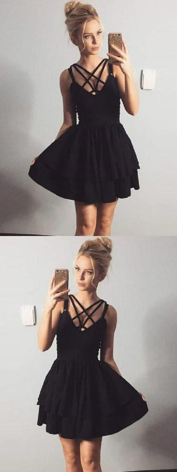 Short black aline amy homecoming dresses