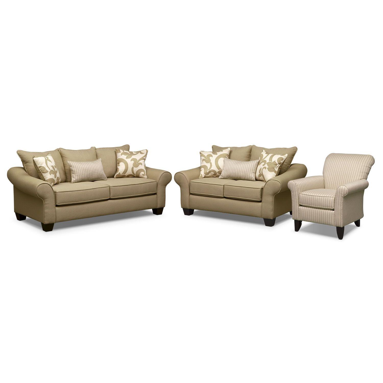Living Room Furniture - Colette Khaki 3 Pc. Living Room w/ Accent ...