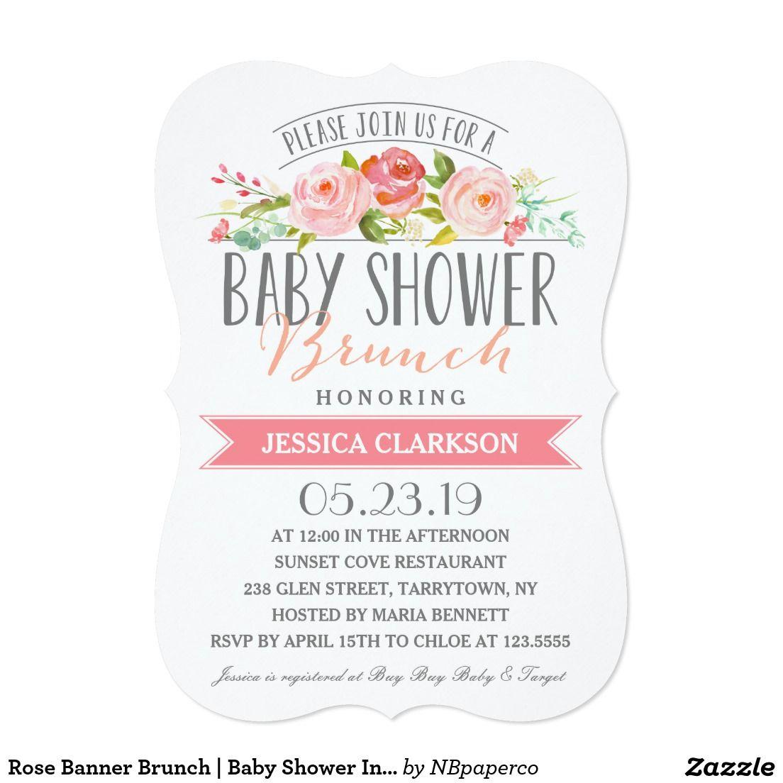 Rose Banner Brunch | Baby Shower Invitation. Artwork designed by ...