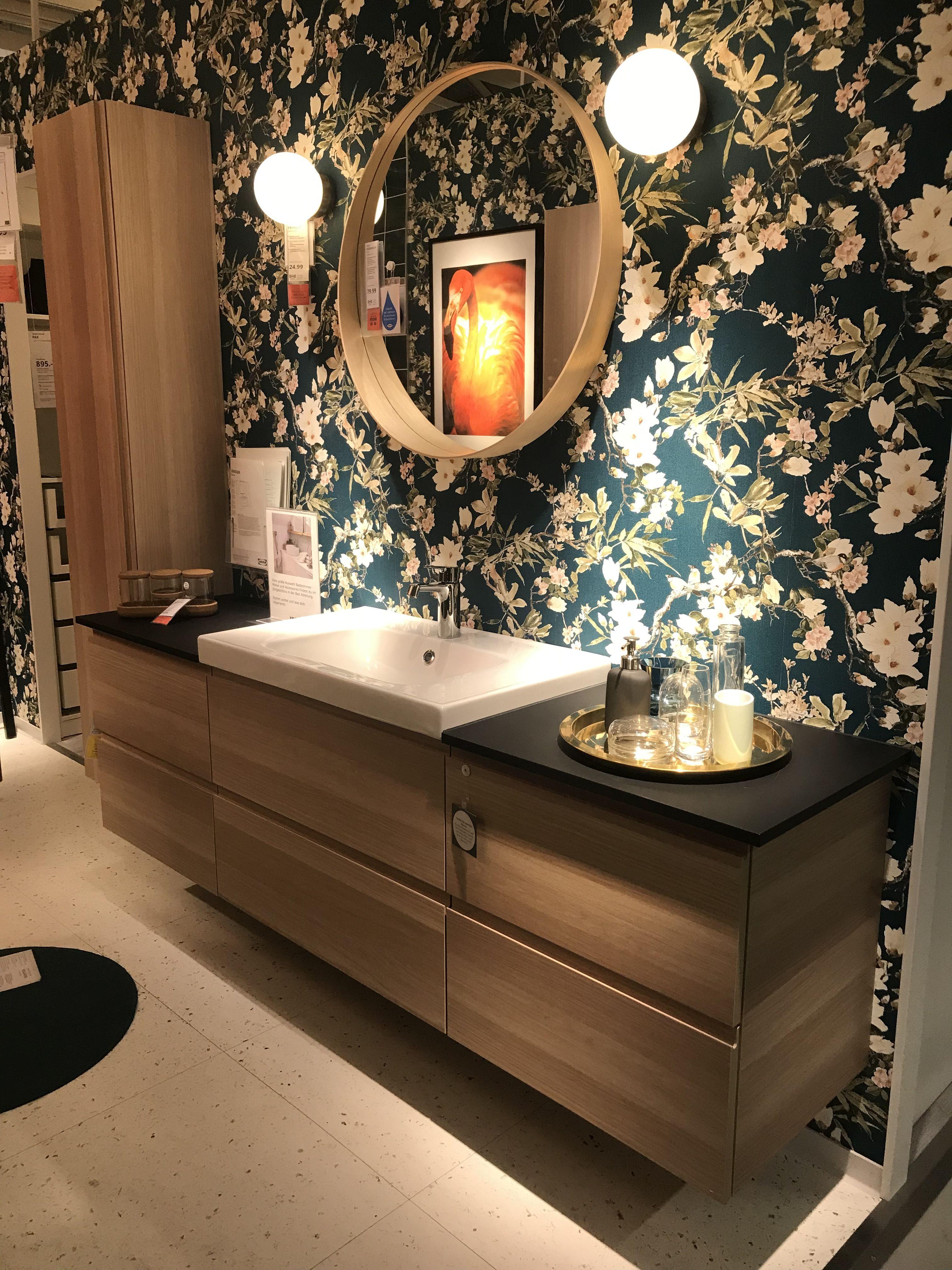 Badezimmer Idee Kommode Mit Waschbecken Flower Tapete Bad Inspiration Haus Einrichten Tapeten