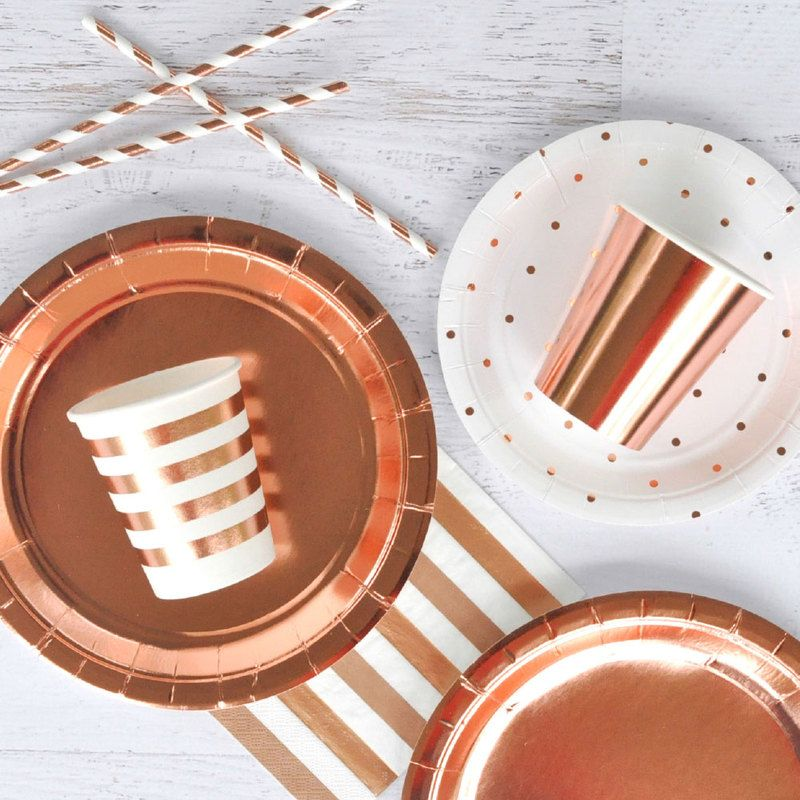 Rose Gold Foil Solid Paper Plates Large 10pk by Illume Partyware . & Rose Gold Foil Solid Paper Plates Large 10pk by Illume Partyware ...