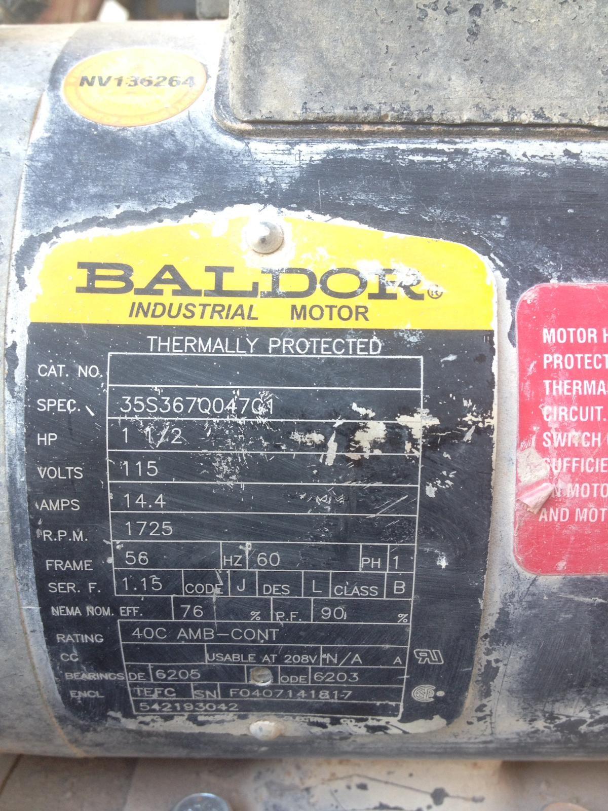 Baldor Motor Parts Diagram : baldor, motor, parts, diagram, Baldor, 35S367Q047C1, Motor, Target, Tilematic, Alternator,, Motor,, Alternator
