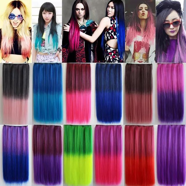 Colorful Hair Straight Long Clip In Hair Extensions Highlight