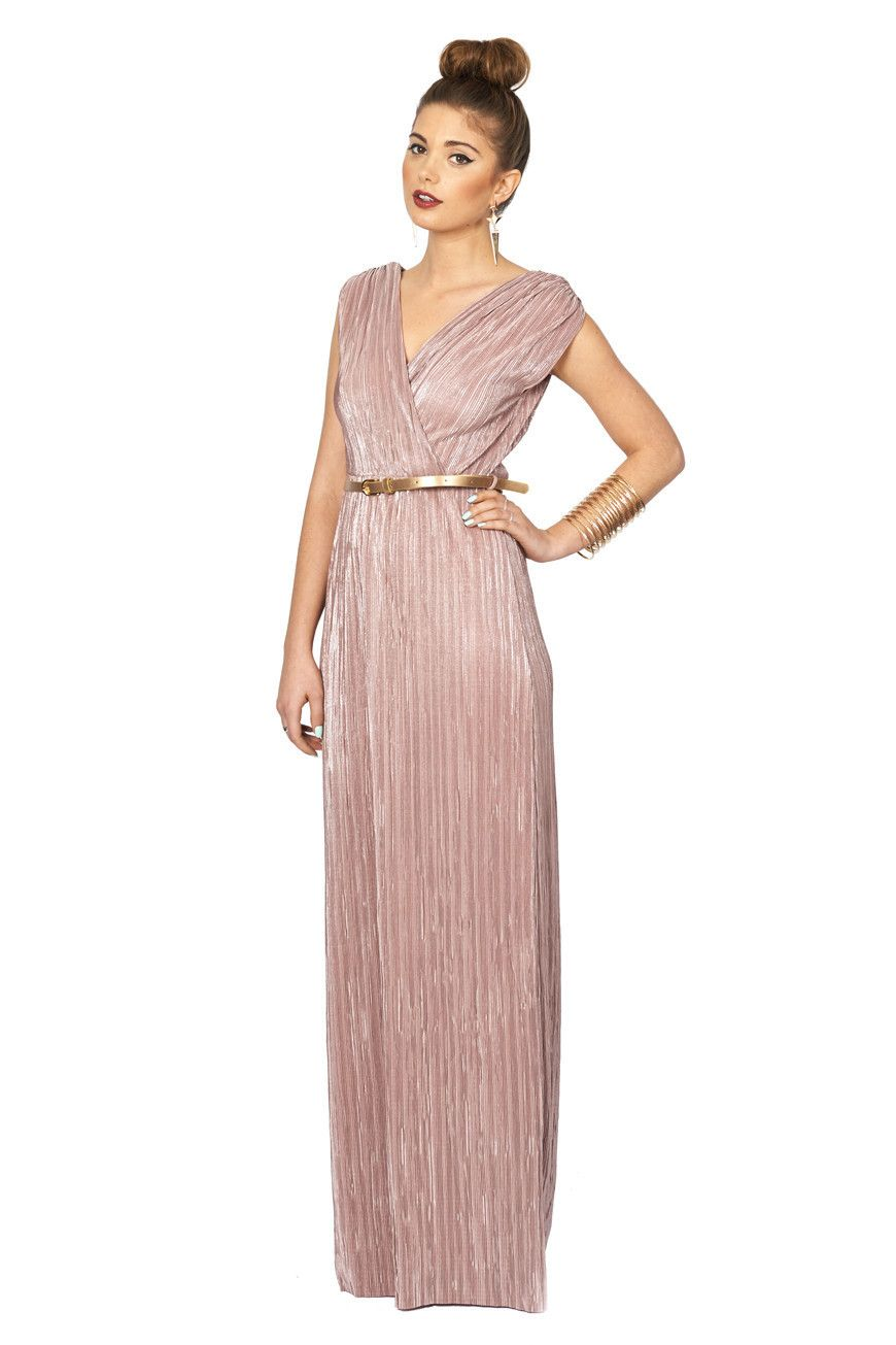 Moonshine Mauve Pleated Grecian Belted Maxi Dress | Oh My Love ...