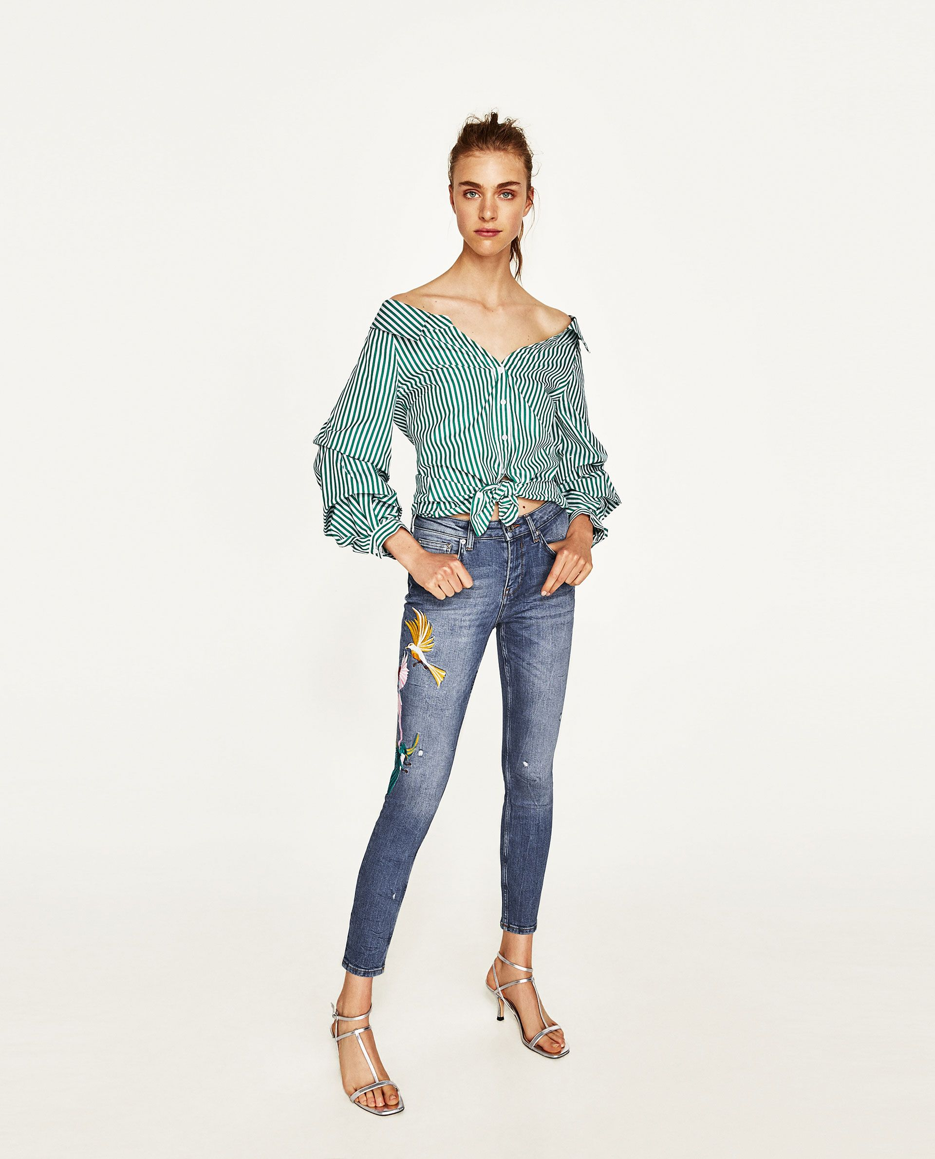 6330a02c0eb1bd Image 1 of THE SKINNY JEANS WITH EMBROIDERY from Zara | emb | Jeans ...