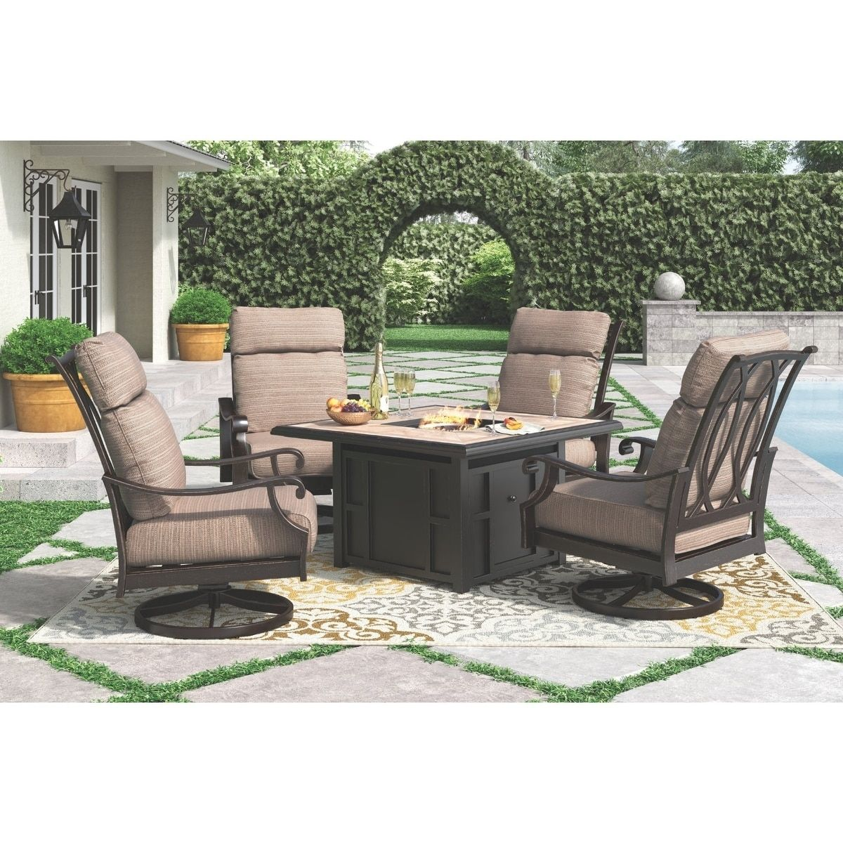 Chestnut Ridge Outdoor Square Fire Pit Table with