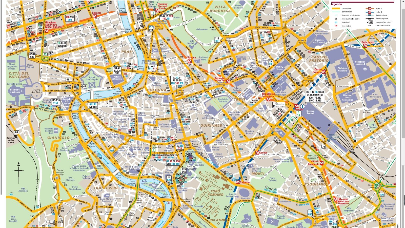 Map of Bus Routes in Rome Italy | Bus map, Map, Rome