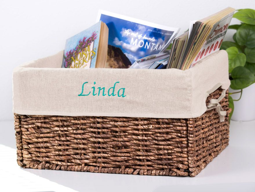 Storage wicker Basket with personalized Liner. #Basket # Wicker Basket # Liner #Basket liner #embroidery #basket liner #storage basket #home basket