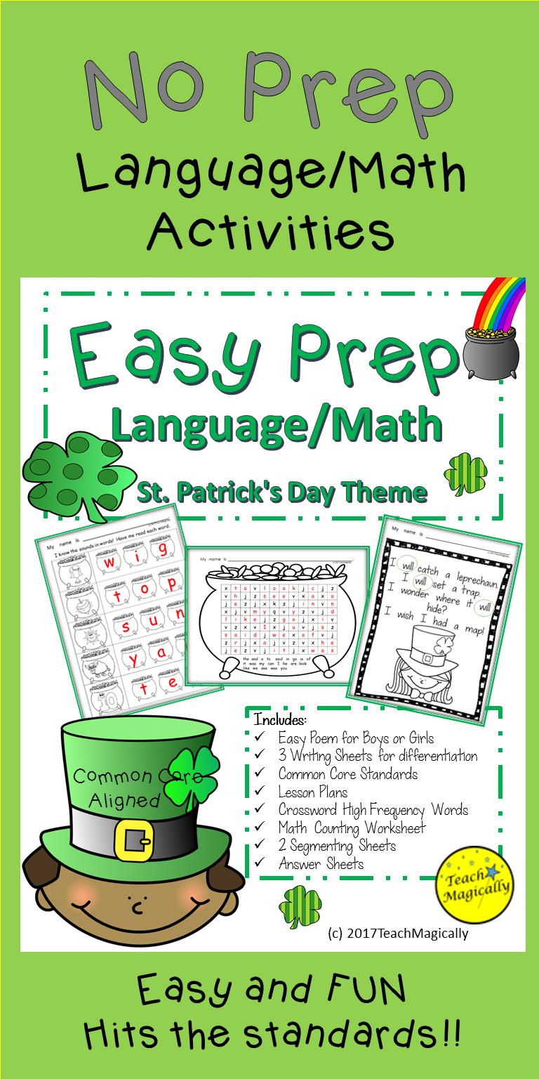 St Patricks Day Math and Writing No Prep Worksheets