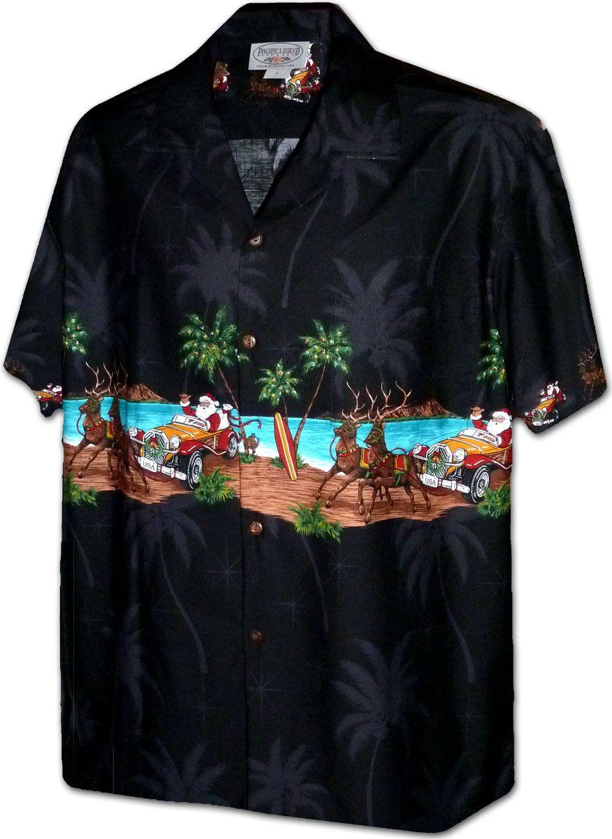 fd0f7bba Cruising Santa Christmas Hawaiian Shirts 440-3850 Made In Hawaii, U.S.A