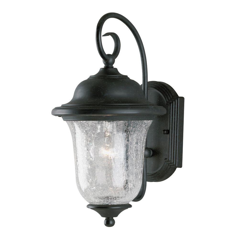 Westinghouse 1 Light Vintage Bronze Steel Exterior Wall Lantern Sconce With Clear Crackle Glass 6484100 The Home Depot Porch Lighting Outdoor Wall Lantern Wall Lantern