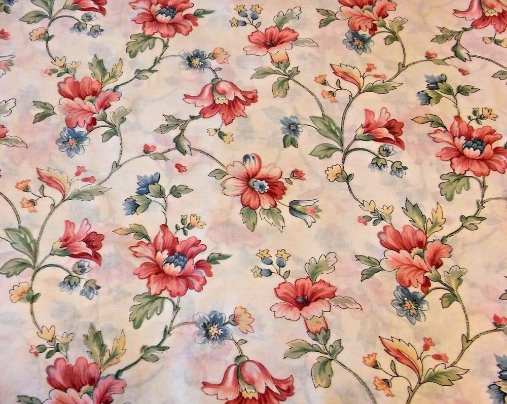 Vintage Full Double Flat Sheet Pink Flower Floral Shabby Blue Green Yellow Girls #Cottage