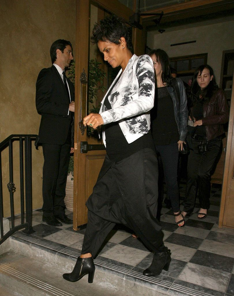 On a night out in West Hollywood, Halle Berry stuck to all black, but then punched things up with a black-and-white printed jacket. Do the same with your statement pieces.