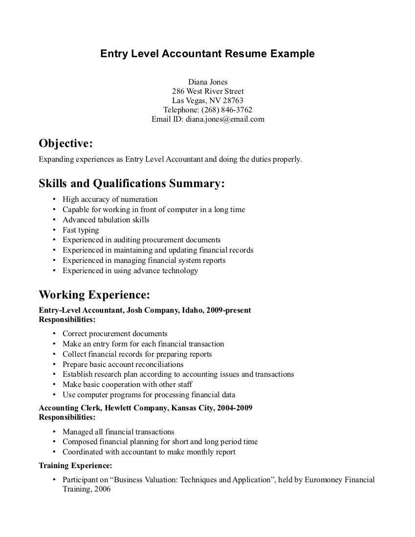 Resume For Entry Level Bookkeeper Resume Entry Level  Httpwwwresumecareer