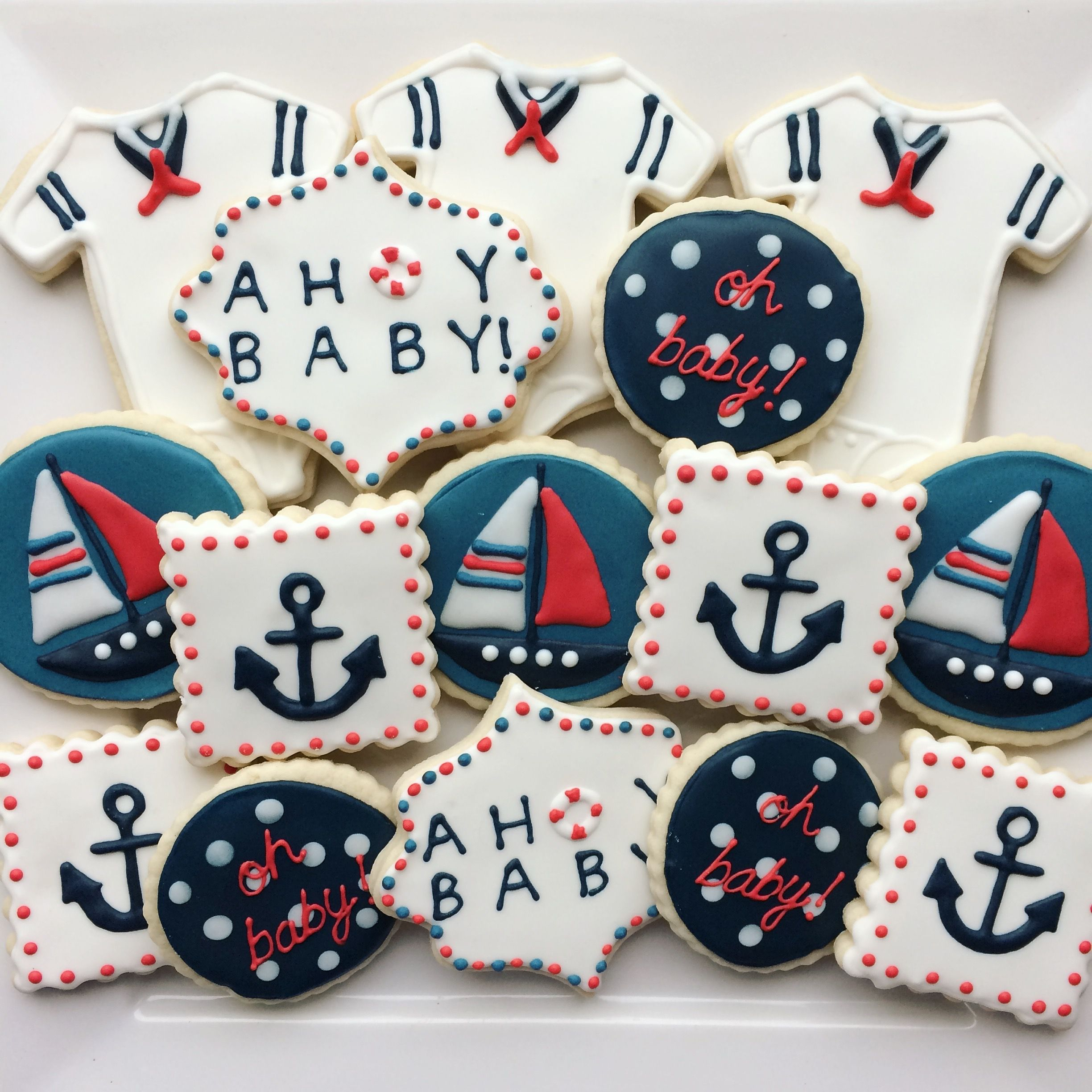 Ahoy Its A Boy Decorated Baby Boy Cookies Decorated Cookies