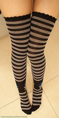 5437041251b73 Gray Skull Striped Stockings Thigh Highs Socks Punk Rock Emo Cosplay Goth  Lolita | eBay. Find this Pin and ...