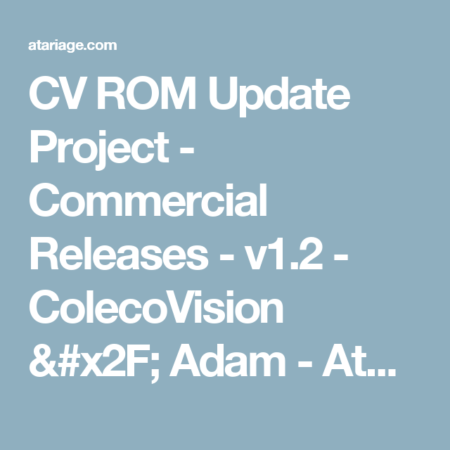 CV ROM Update Project - Commercial Releases - v1 2