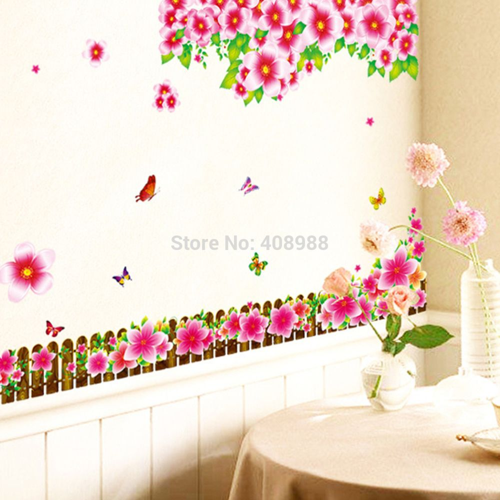 "Find More Wall Stickers Information about ""Fence Safflower""Removable Living Room Television Background Environmental PVC Wall Stickers,High Quality Wall Stickers from LT Milliongadgets Shop on Aliexpress.com"