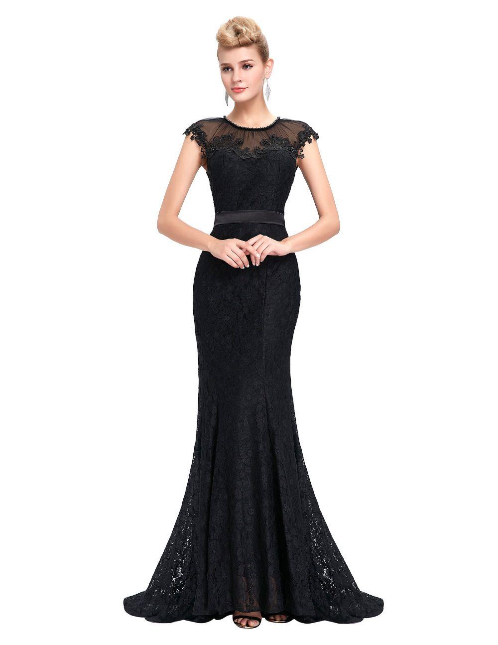 Elegant Sheer Cap Sleeve Long Evening Dress Party Women Lace ...