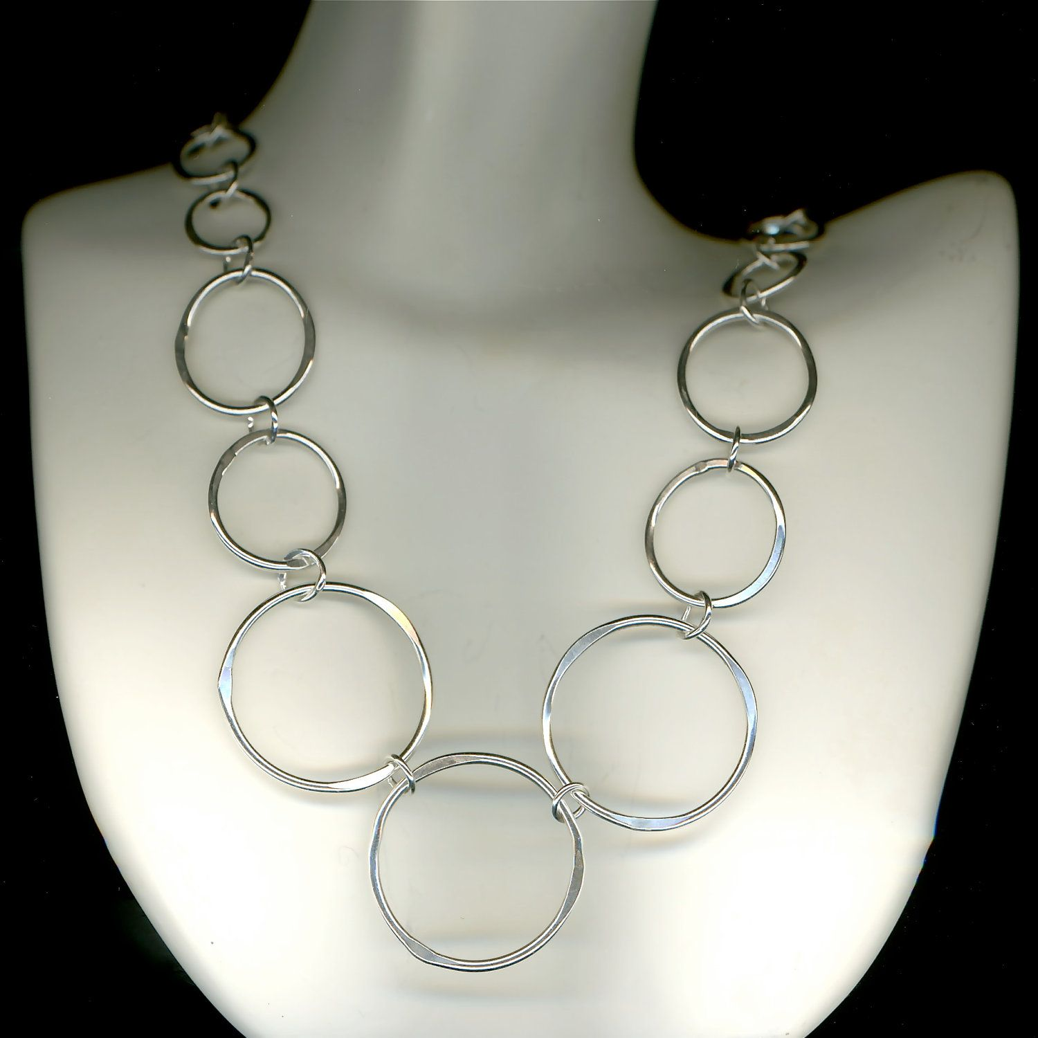 Large Round Chain Link Handmade Designed Necklace Sterling Silver ...