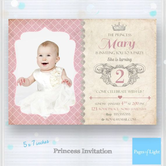 Printable Princess Birthday Invitation - Royal Baby Girl Invitation - birthday invitation card template photoshop