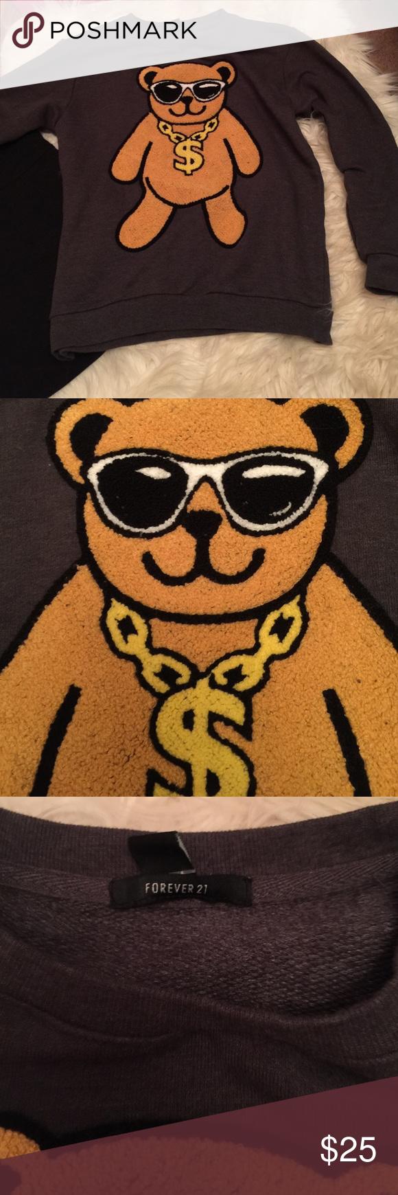Fun sweat shirt Raised bear Forever 21 Tops Sweatshirts & Hoodies