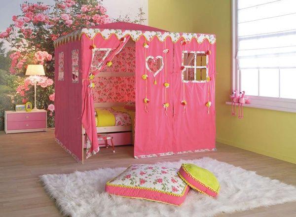 Kinderzimmer ideen für mädchen prinzessin  mädchenzimmer zelt rosen tapeten sitzkissen | Kinderzimmer Ideen ...