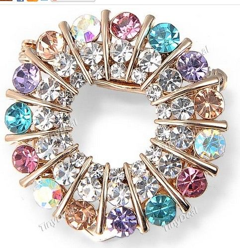 http://www.tinydeal.com/es/ring-shaped-colorful-imitated-rhinestones-brooch-for-women-p-109069.html:Fashion Ring-shaped Colorful Imitated #Rhinestones Brooch Breastpin Ouch Fibula Jewelry for Women Girls