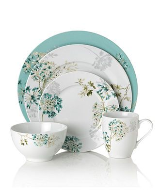 Mikasa Dinnerware Teal Silk Floral Collection Casual Dinnerware