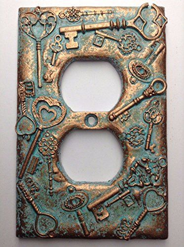 Keys Steampunk Copper//Patina Light Switch Cover Custom