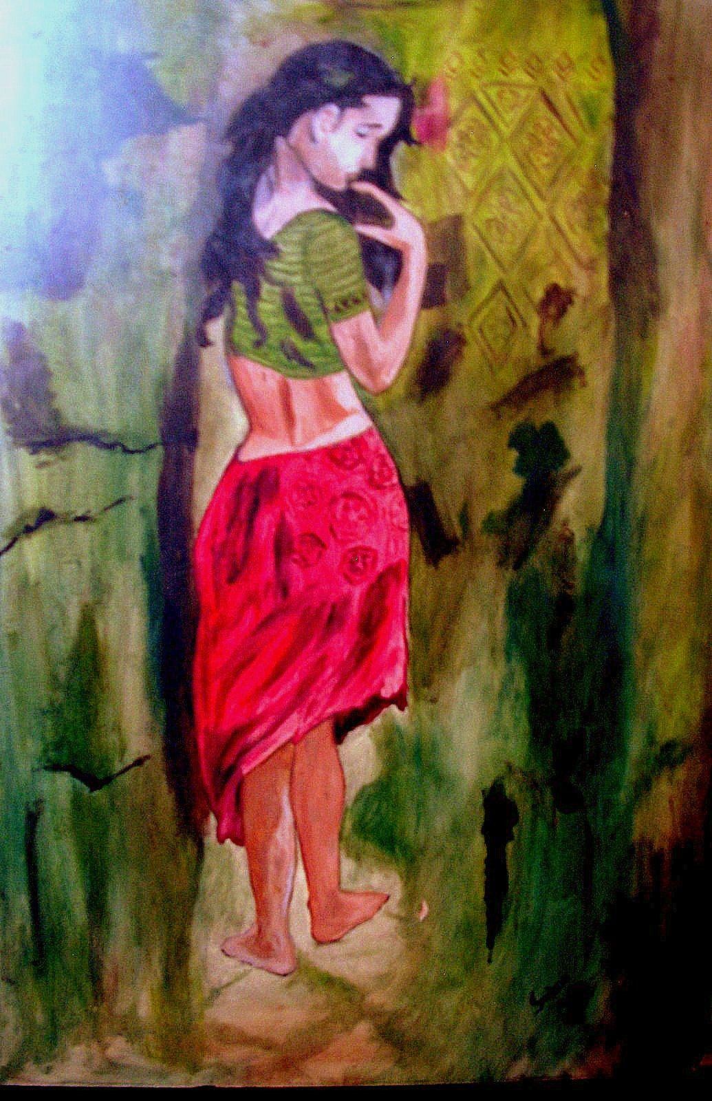Lonely girl oil on canvas