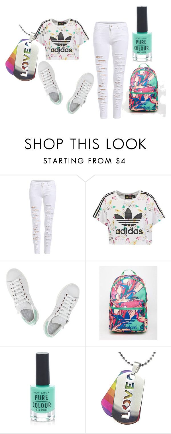 """adidas bae"" by funnymomentsxx ❤ liked on Polyvore featuring adidas Originals, adidas and New Look"
