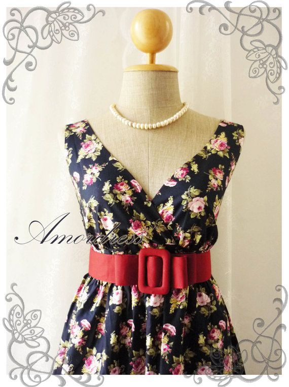 SALE TODAY Floral Dance  Navy with Floral Dress Tea by Amordress, $39.00