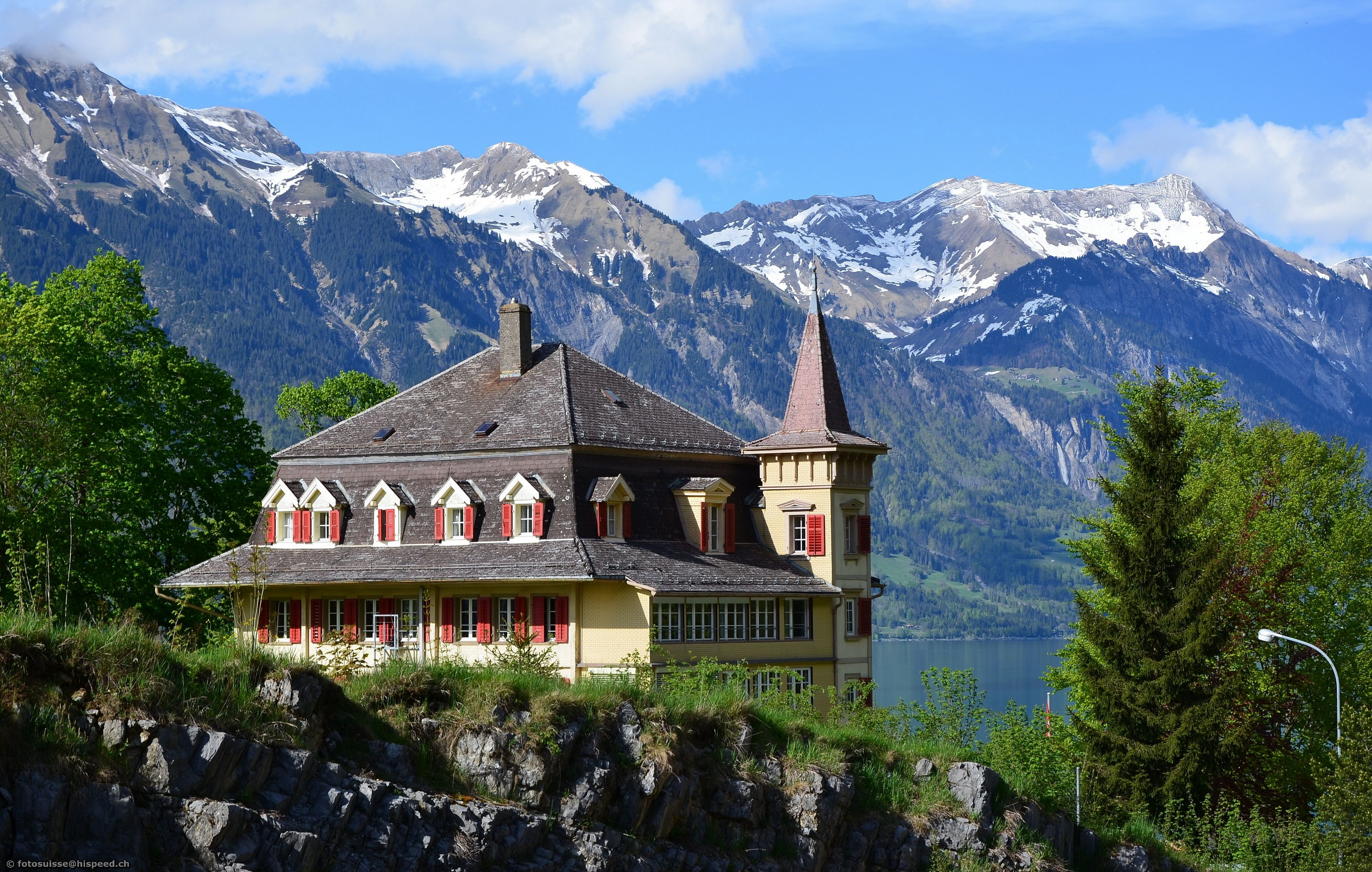 Wallpapers Switzerland Houses Mountains Mansion Cities Download