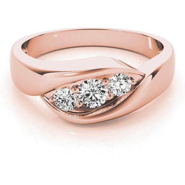 European Engagement Ring Trio Wave Diamond Wedding Ring in Rose