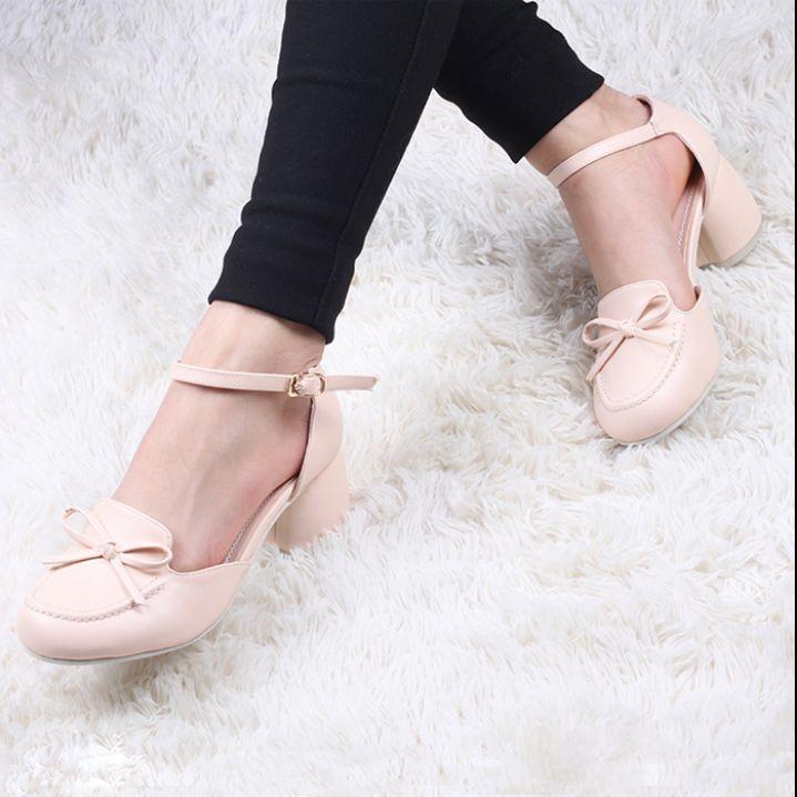 Mary Janes Fashion  Bowknot High Heel Pumps Block Sweet Comfortladies Shoes