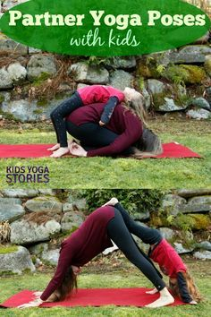 5 easy partner yoga poses for kids printable poster
