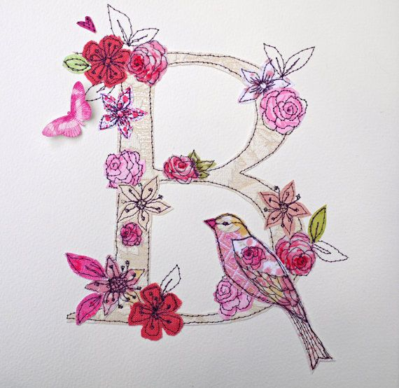 Made to order letter initial mixed media art So pretty! Costura - order letter