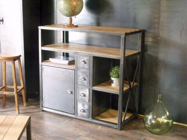 4 tiroirs 1 Meuble rangement de bois métal industriel porte 8vPnN0ymwO