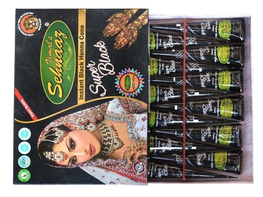 12 Pcs Golecha Black Henna Sehnaaz Super Black Henna Cones