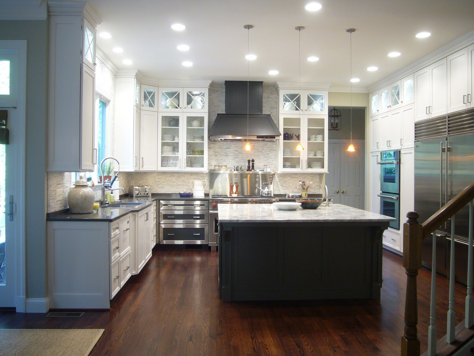 Rabbit Runn Designs A Kitchen Makeover: White Perimeter Cabinets, BM Kendall Charcoal Island, Love
