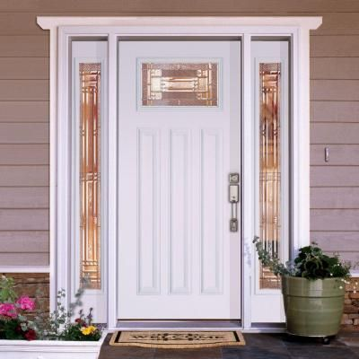 Feather River Doors 63.5 in. x 81.625 in. Preston Zinc Craftsman Unfinished Smooth Left-Hand Fiberglass Prehung Front Door with Sidelites-A42101-3A4 - The ... : doors preston - pezcame.com