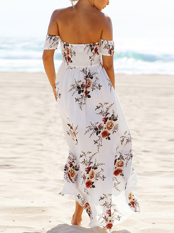 White Off Shoulder Shirred Floral Print Wrap Maxi Dress Choies Com Maxi Dress Boho Dresses Long Boho Floral Dress [ 1500 x 1125 Pixel ]