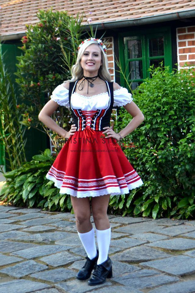 2bcf04ae96 Traje Típico Alemão Vermelho Tradicional Fantasia Alemã